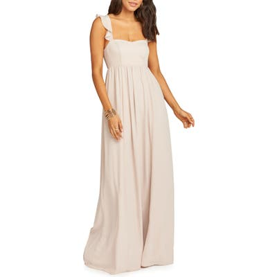 Show Me Your Mumu June Ruffle Strap Evening Dress, Beige