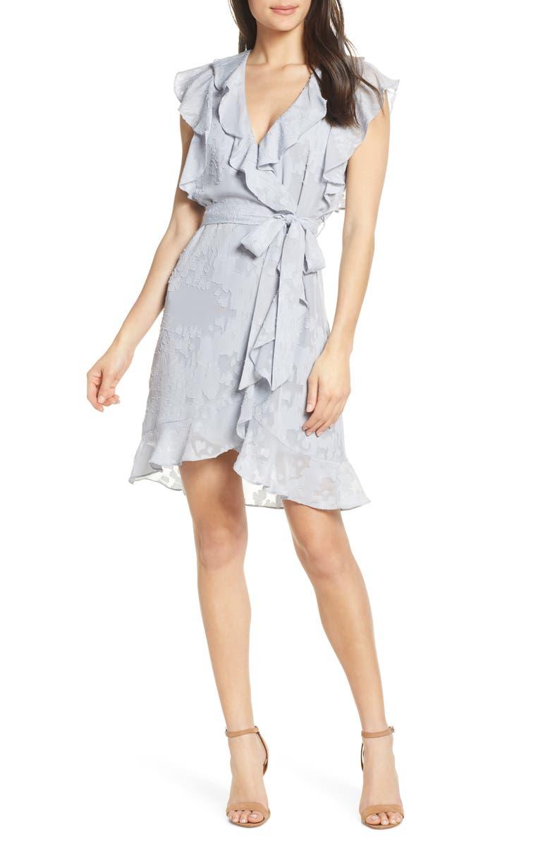ELIZABETH CROSBY Pippa Ruffle Faux Wrap Dress, Main, color, GREY BURNOUT