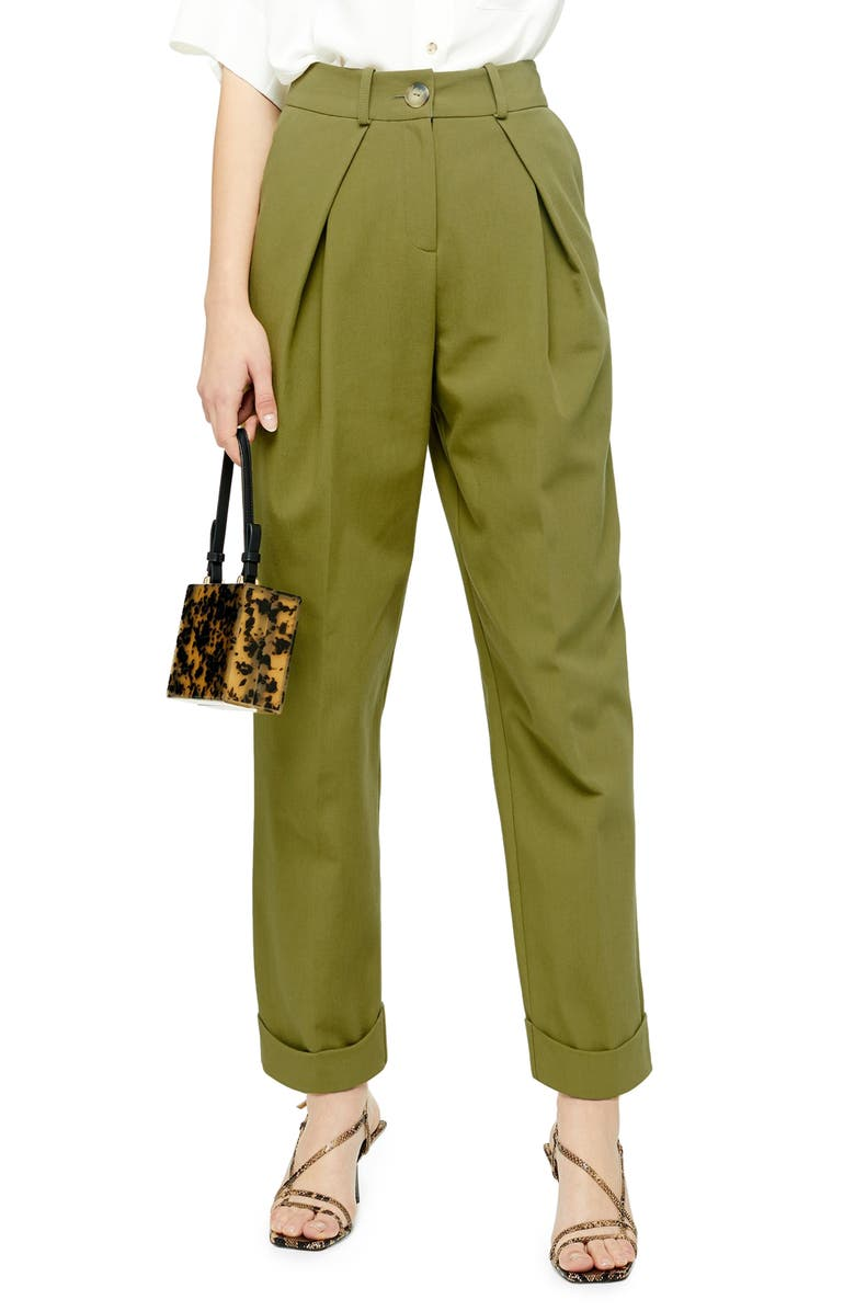TOPSHOP Ovoid Pleated Trousers, Main, color, OLIVE