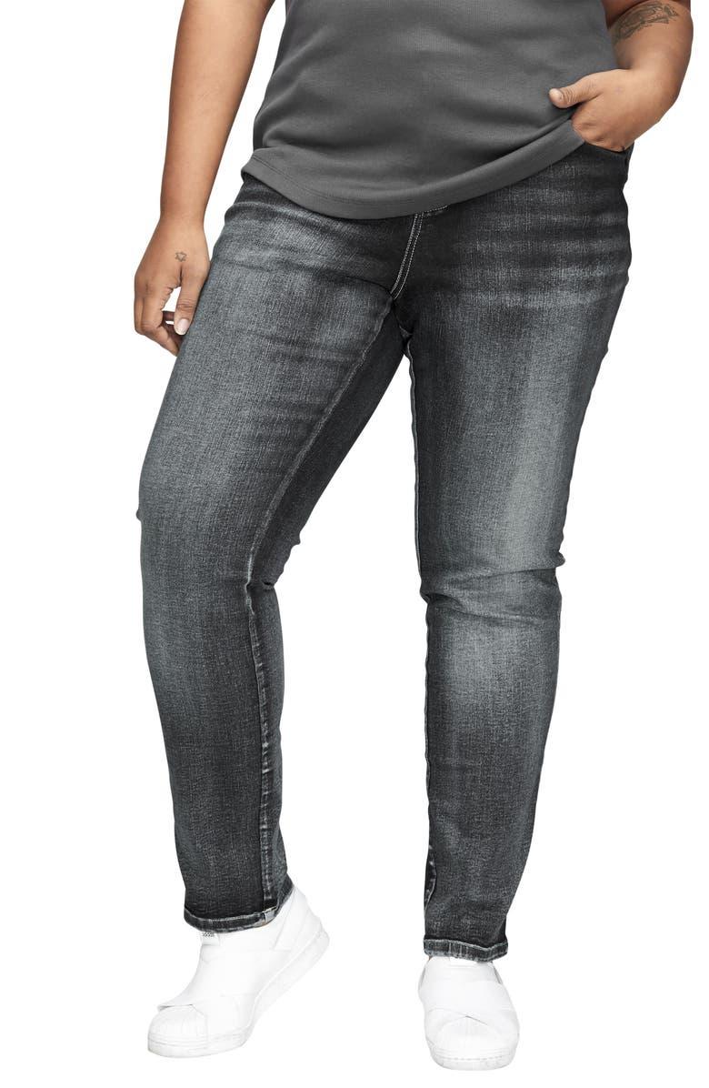 UNIVERSAL STANDARD Seine High Waist Skinny Jeans, Main, color, DISTRESSED BLACK