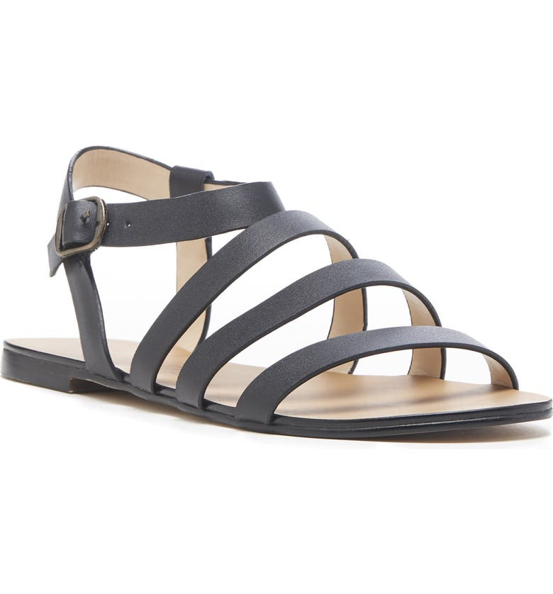 SOLE SOCIETY Eesha Strappy Flat Sandal, Main, color, BLACK LEATHER
