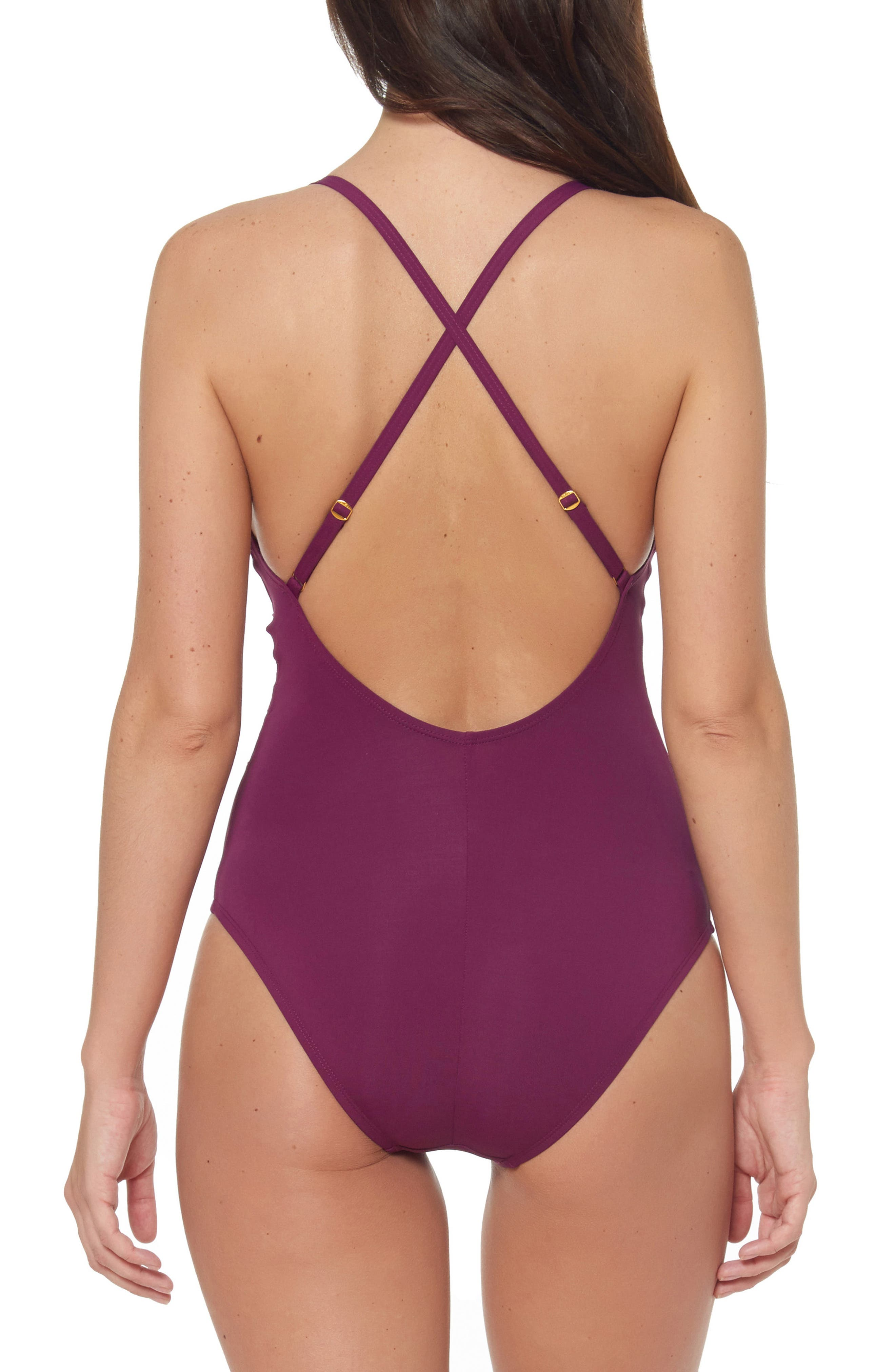 ,                             Mesh Inset One-Piece Swimsuit,                             Alternate thumbnail 2, color,                             CHERRY WINE