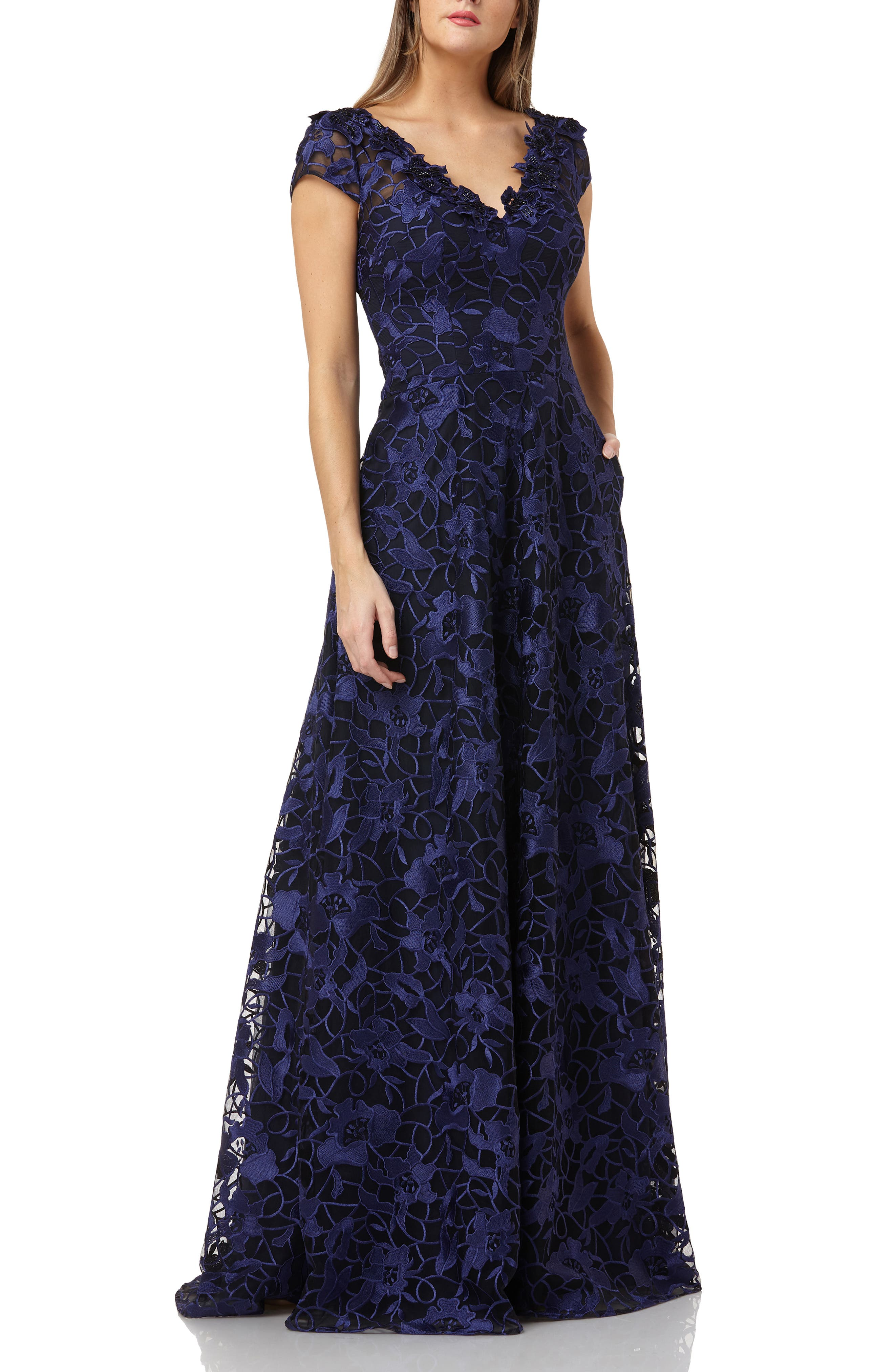 Carmen Marc Valvo Infusion Embroidered Gown, Blue