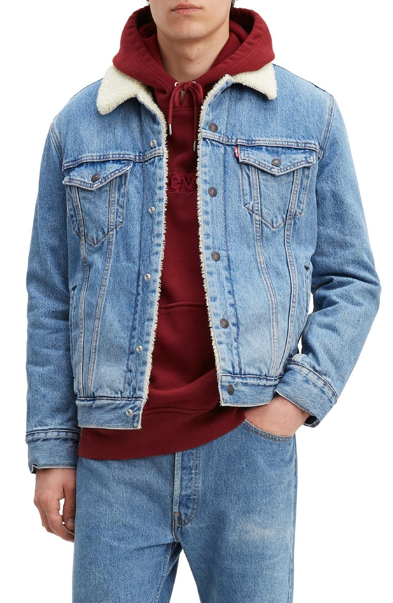 LEVI'S<SUP>®</SUP> Faux Shearling Lined Denim Trucker Jacket with Jacquard<sup>™</sup> by Google, Main, color, GOOGLE SHERPA
