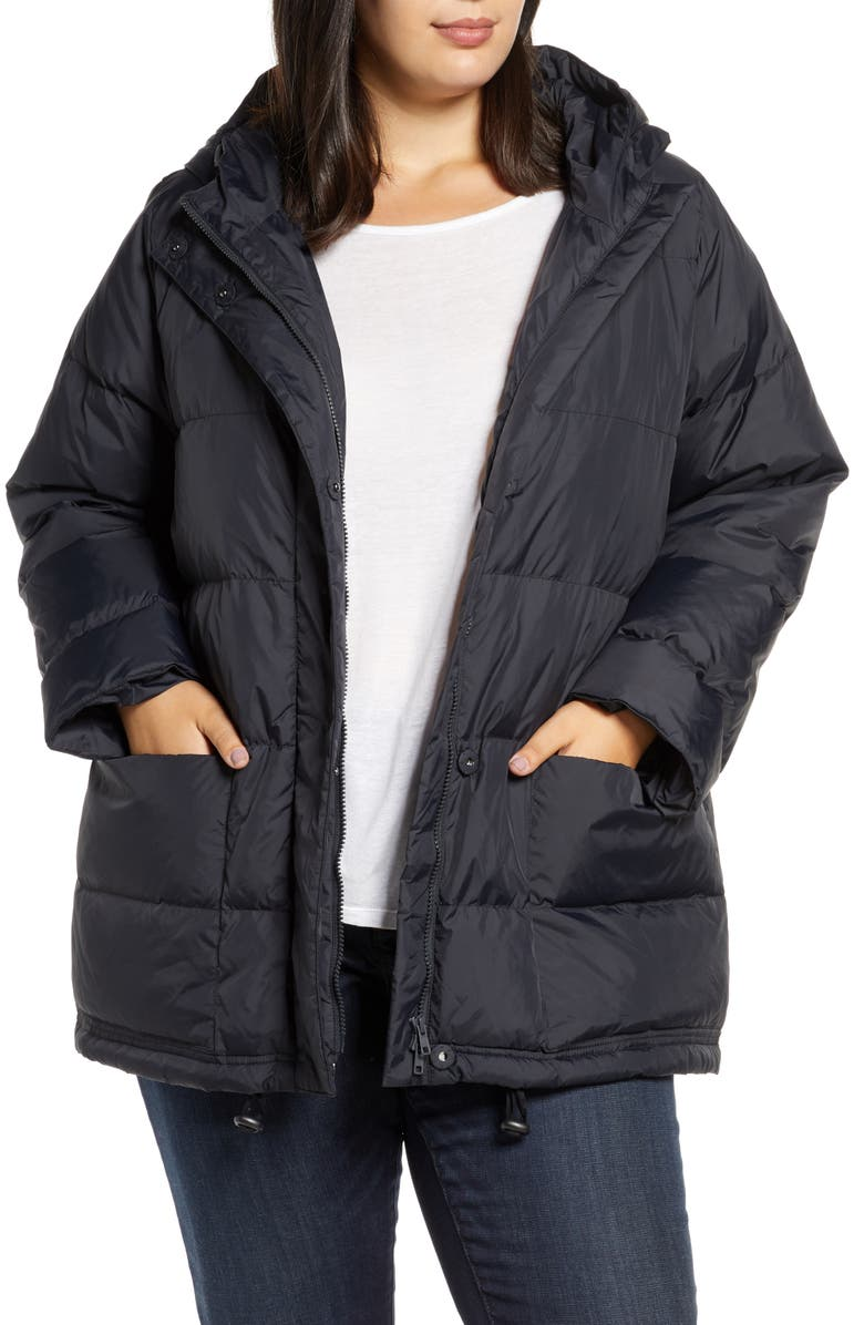 EILEEN FISHER Recycled Nylon Hooded Down Coat, Main, color, 001