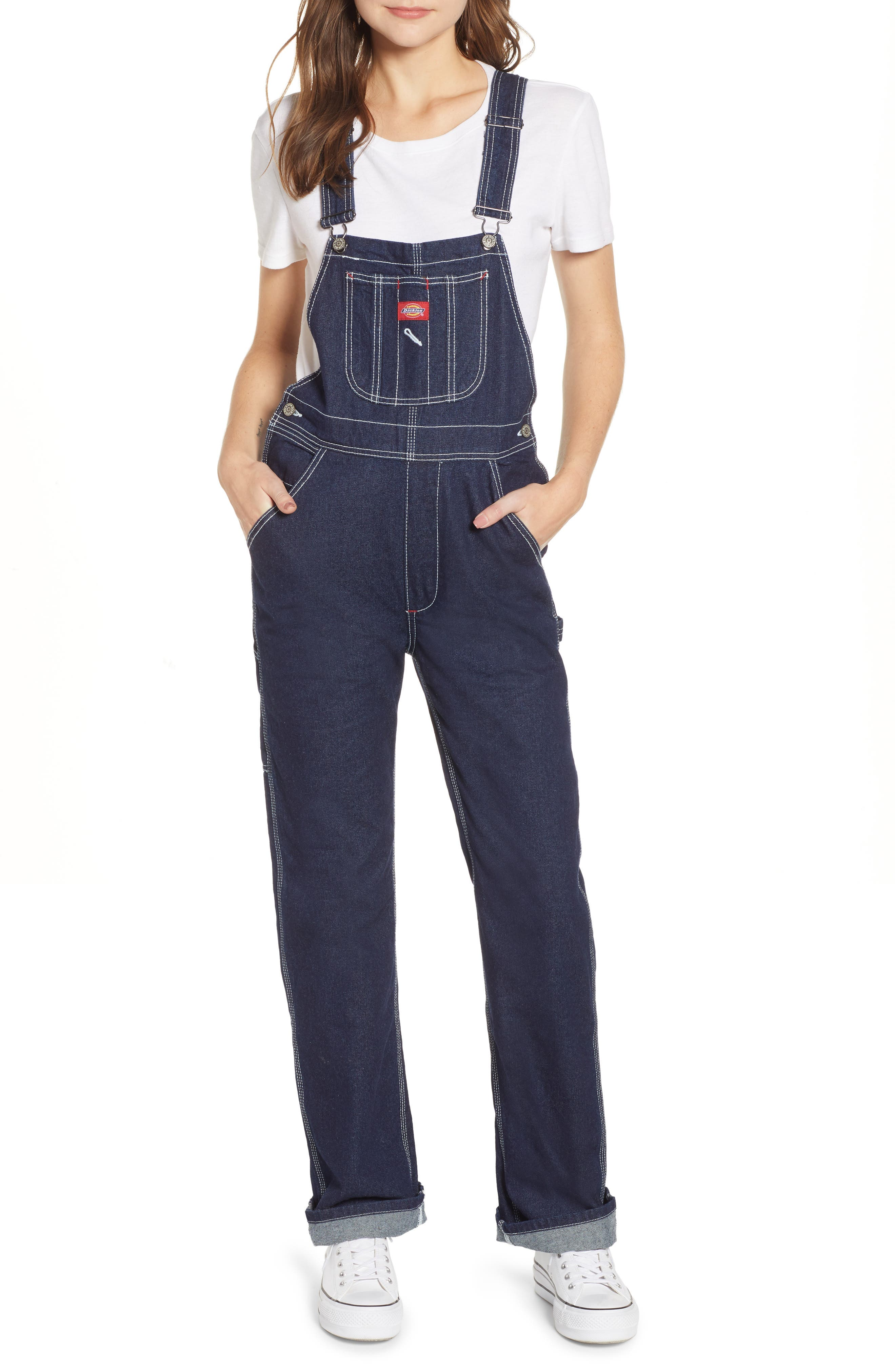 ,                             Relaxed Fit Denim Overalls,                             Main thumbnail 1, color,                             DARK RINSE