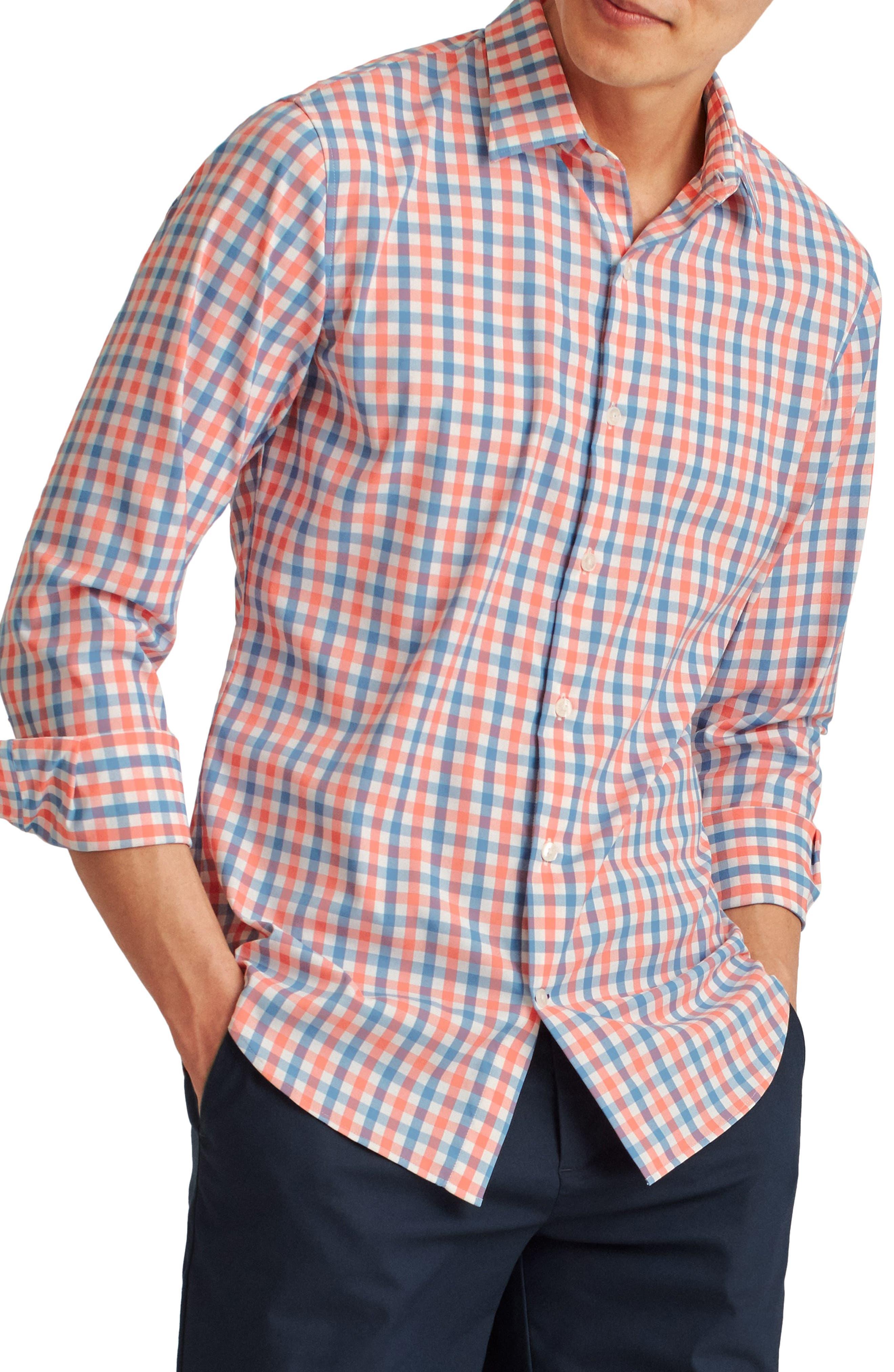 INC Mens Pink Tartan Plaid Collared Classic Fit Cotton Dress Shirt XXL