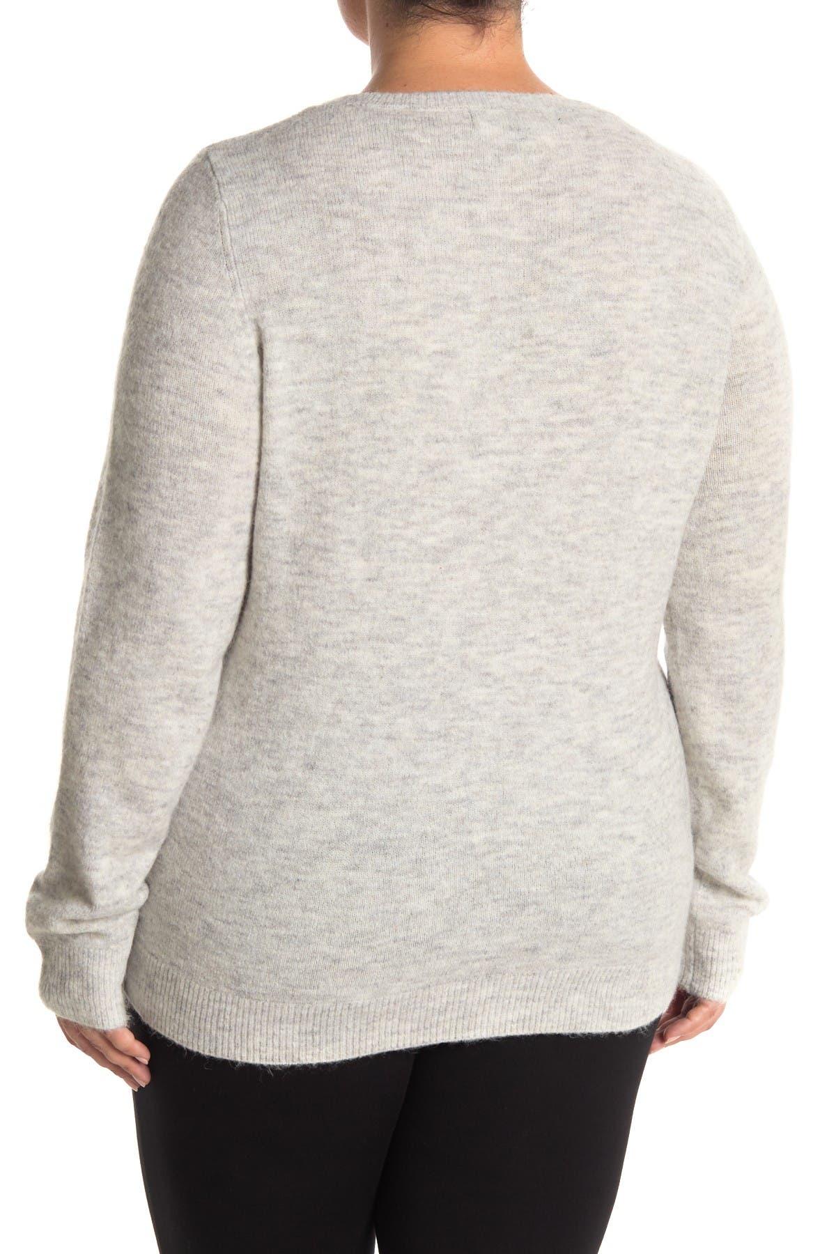 Image of VERO MODA Long Sleeve V-Neck Lace Trim Sweater