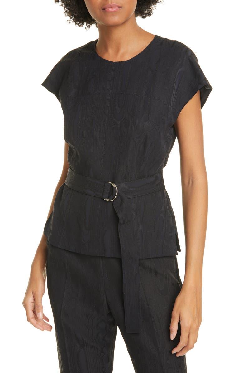 RACHEL COMEY Everin Belted Moiré Top, Main, color, BLACK