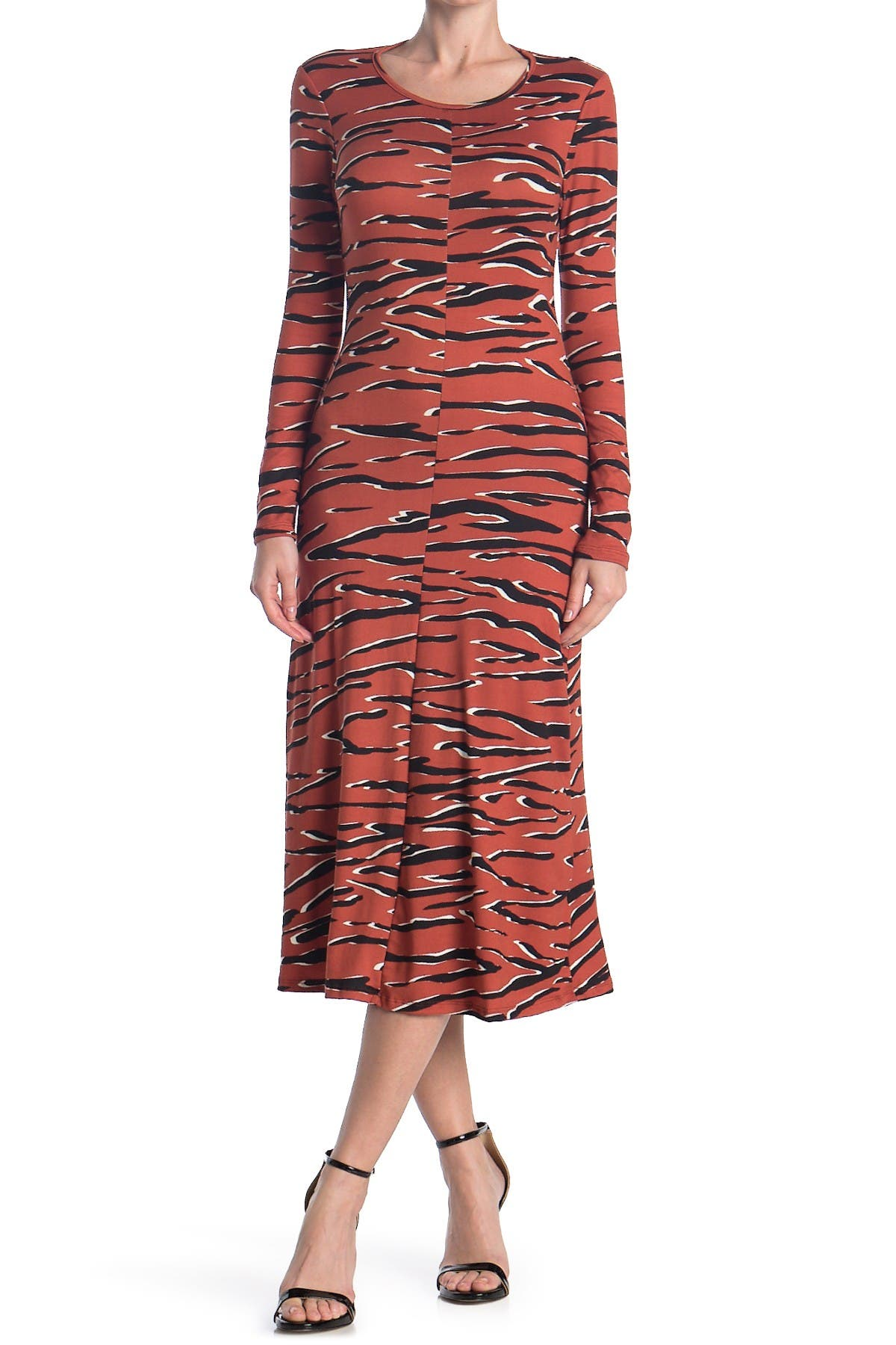 Image of Velvet Torch Long Sleeve Cutout Back Animal Print Dress