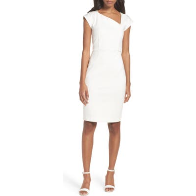 French Connection Lula Asymmetrical Neck Sheath Dress, White
