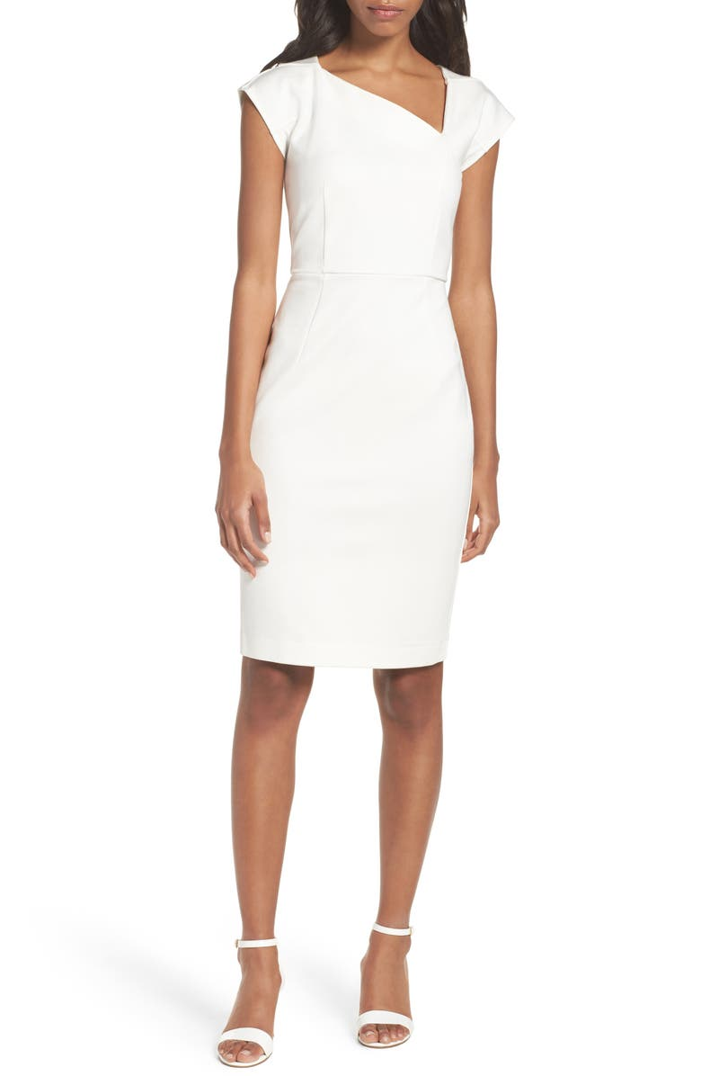 FRENCH CONNECTION Lula Asymmetrical Neck Sheath Dress, Main, color, SUMMER WHITE