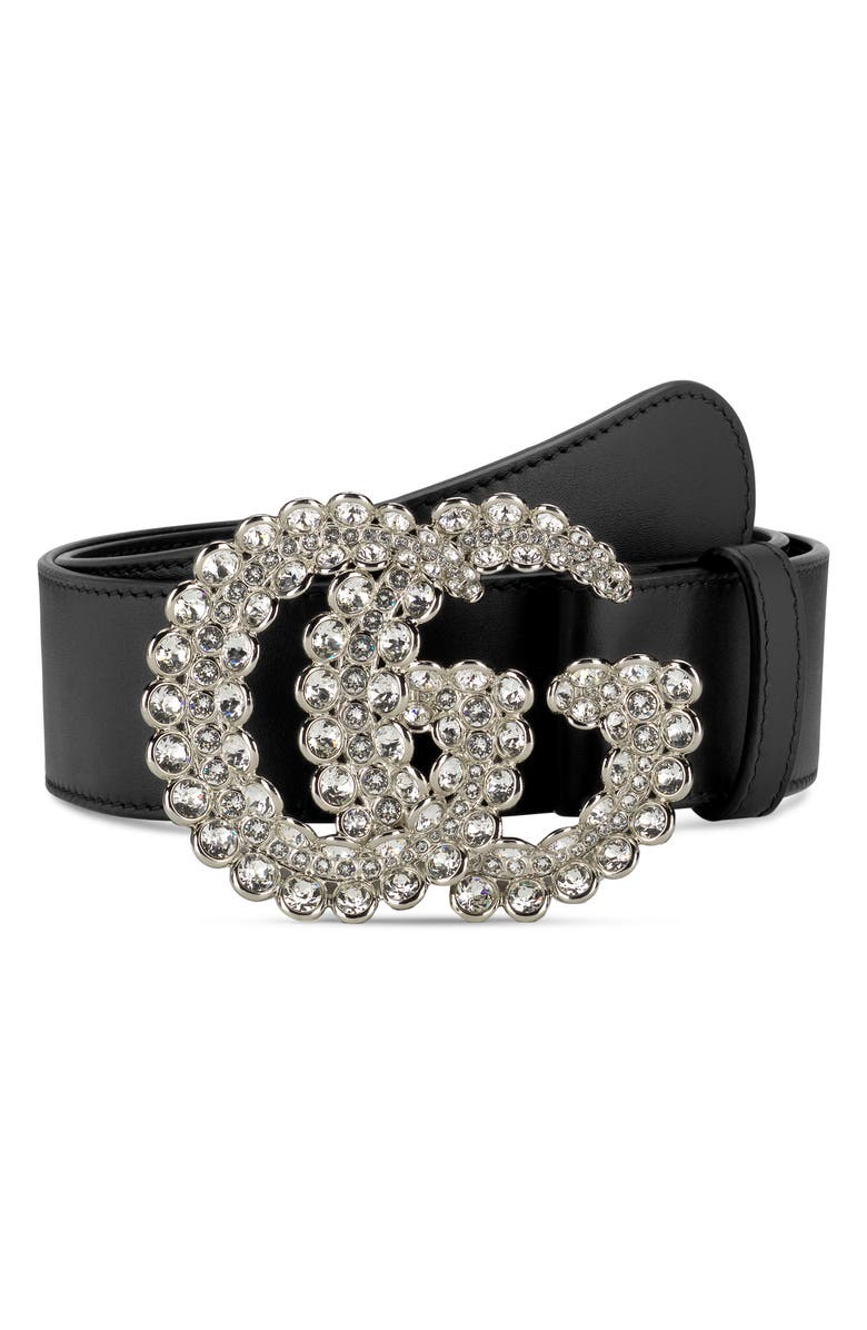 GUCCI GG Marmont Crystal Buckle Leather Belt, Main, color, NERO/ CRYSTAL