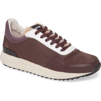 Blackstone Sl91 Genuine Shearling Trim Low Top Sneaker, Burgundy