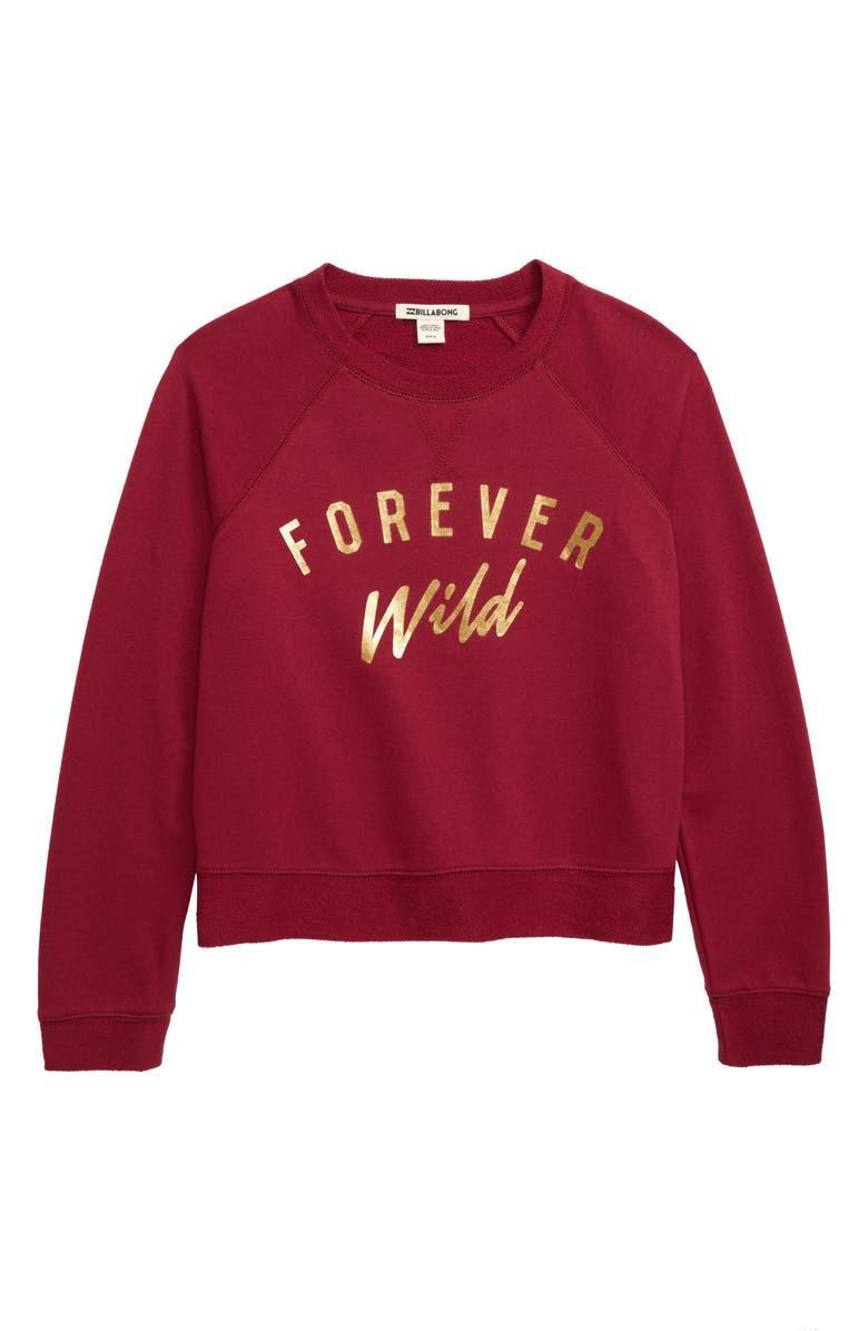 BILLABONG Weekend's Here Sweatshirt, Main, color, RUBY WINE