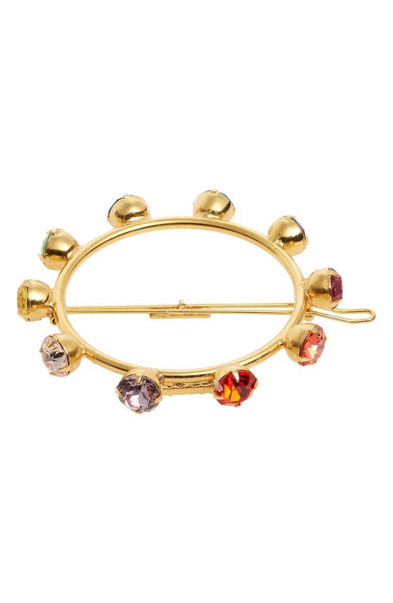 LELET NY Solar Spectrum Swarovski Crystal Barrette, Main, color, GOLD/ MULTI