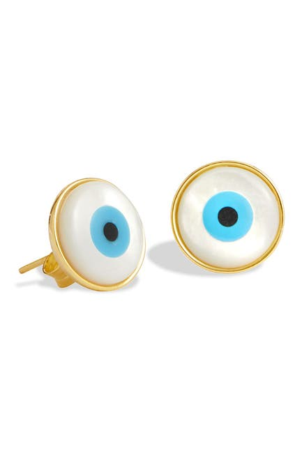 Image of Savvy Cie 18K Gold Vermeil Mother of Pearl Evil Eye Stud Earrings