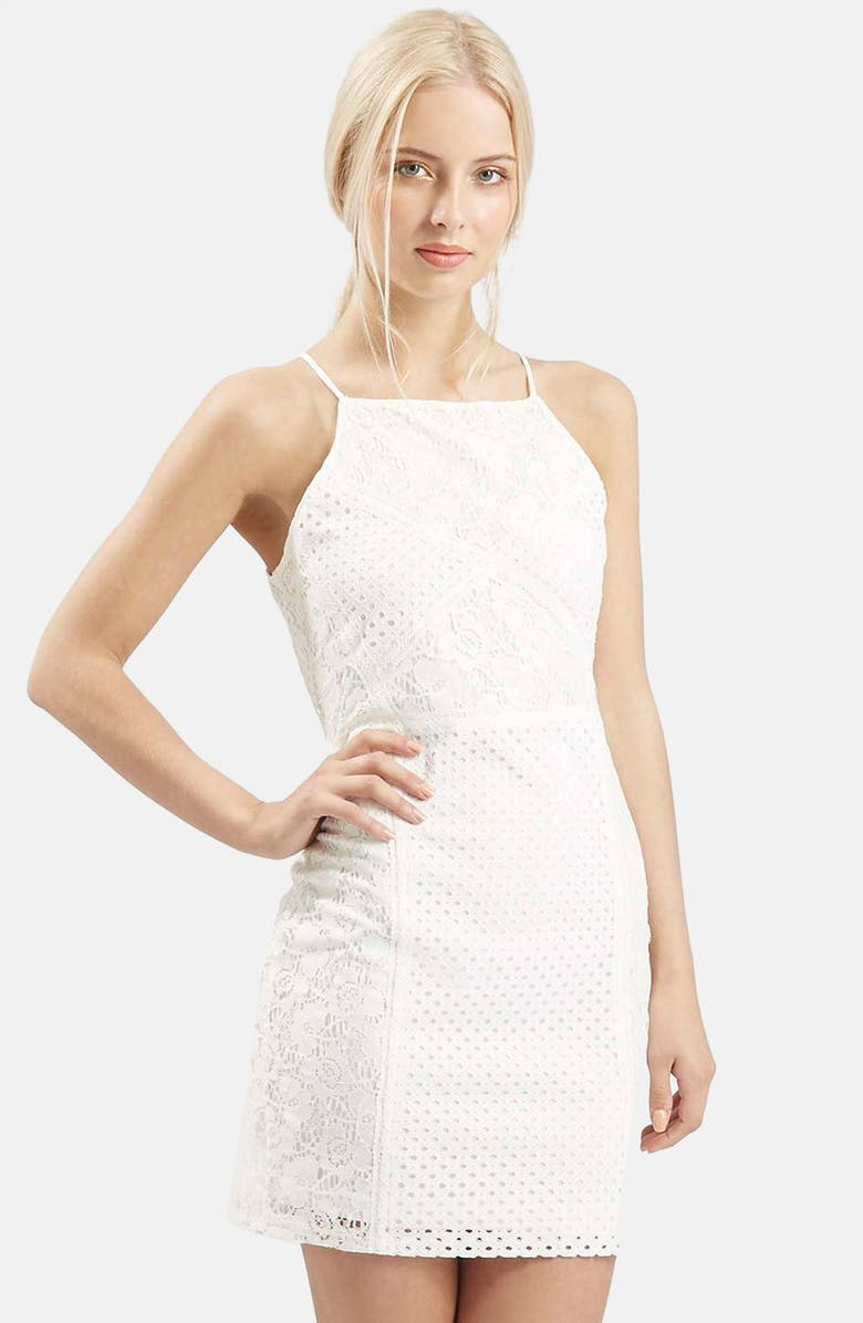 TOPSHOP Strappy Lace Body-Con Dress, Main, color, 100