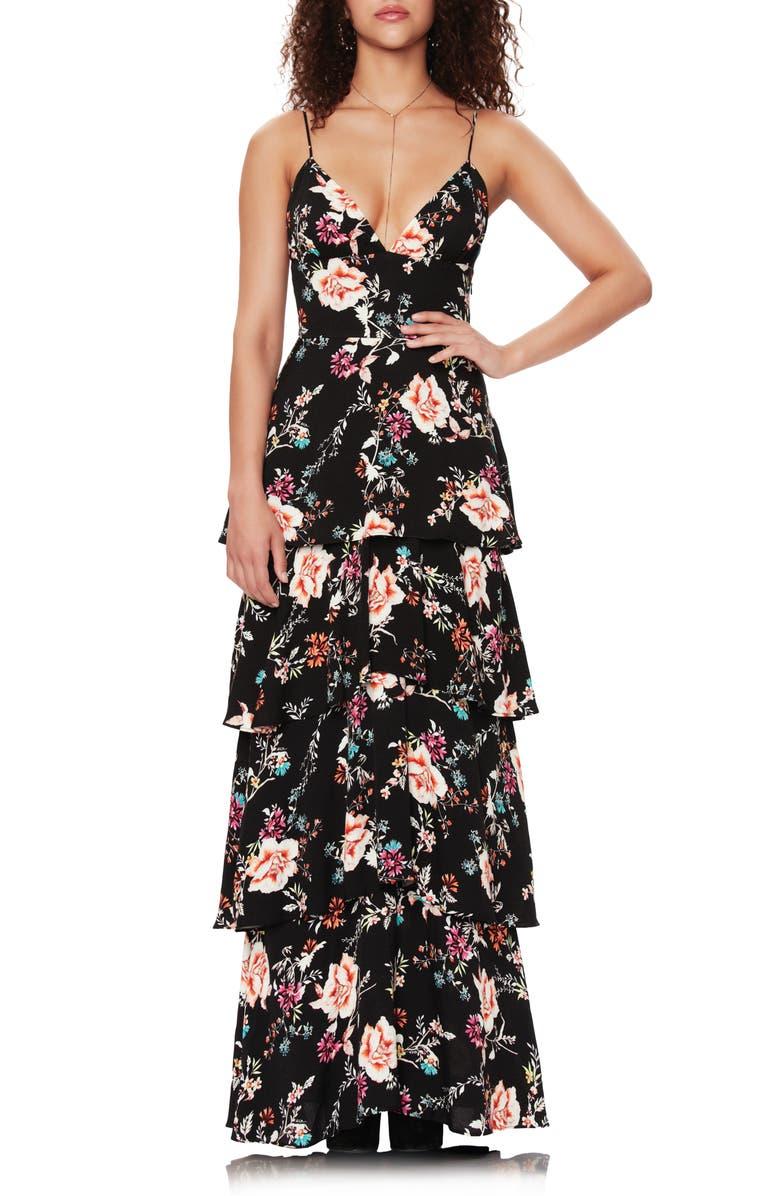 AFRM Berlin Floral Tiered Crepe Maxi Dress, Main, color, NOIR SUMMER GARDEN