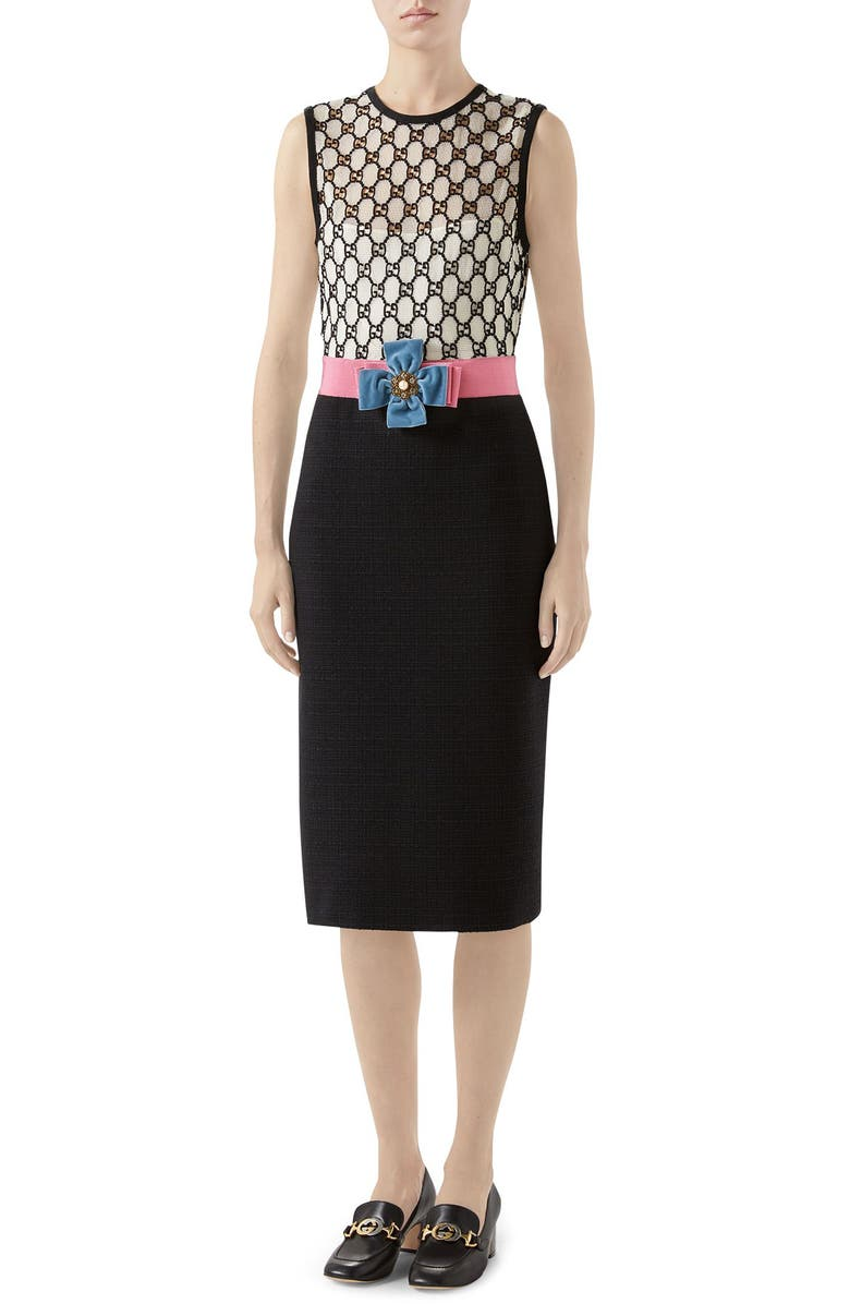 GUCCI GG Macramé Dress, Main, color, WHITE/ MIX