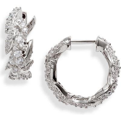 Nadri Liv Leaf Huggie Hoop Earrings