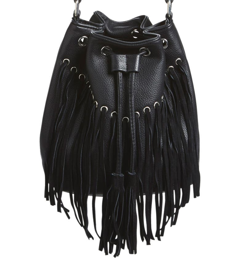 Street Level Fringe Faux Leather Bucket