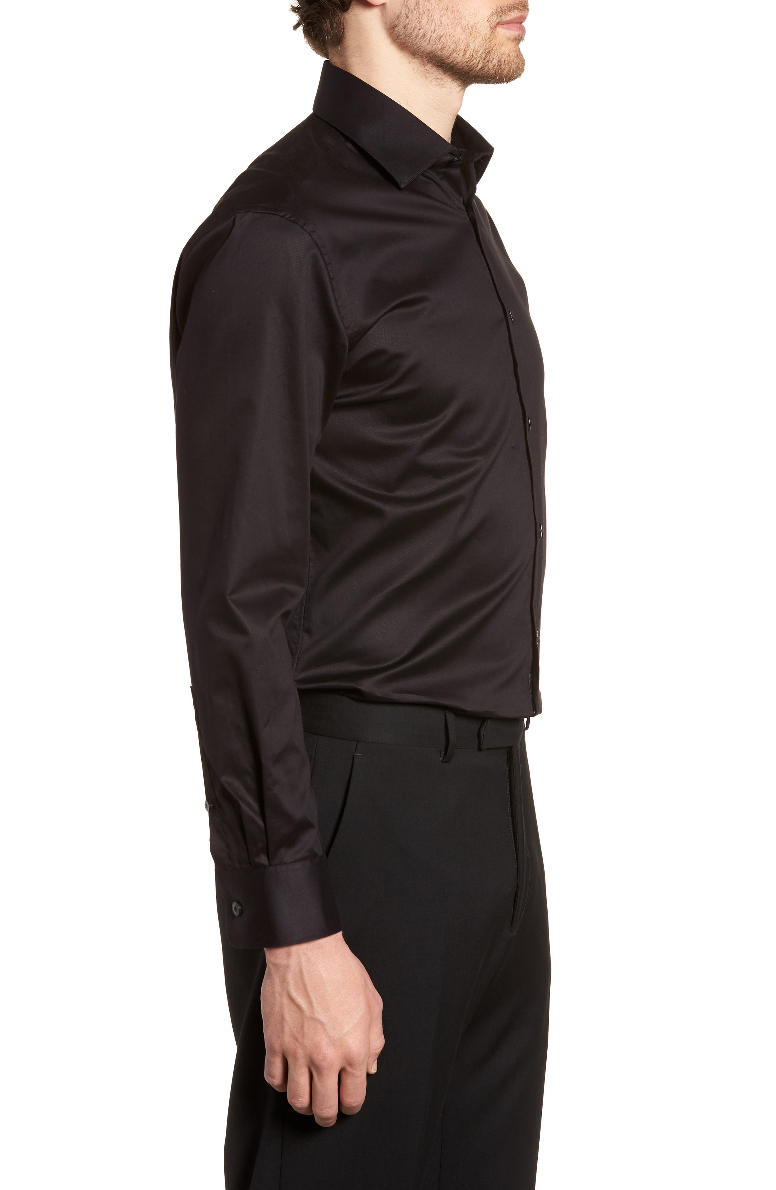 ,                             Slim Fit Stretch Solid Dress Shirt,                             Alternate thumbnail 4, color,                             BLACK