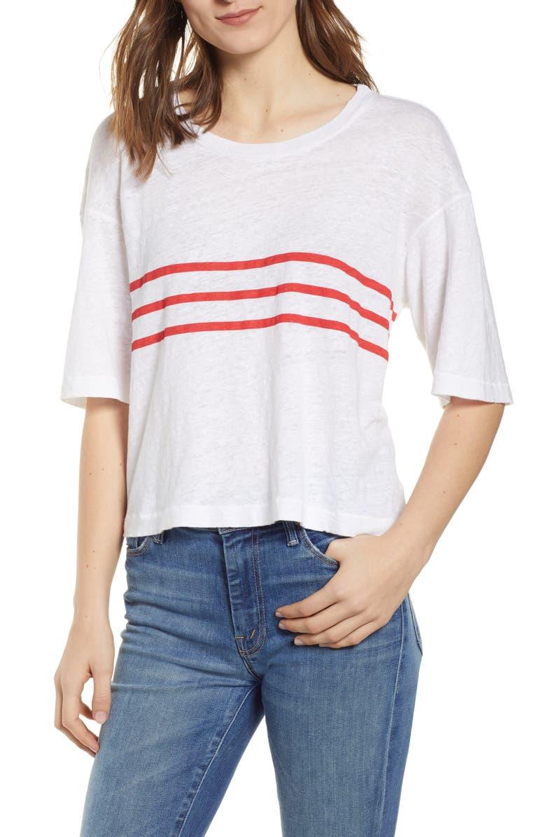 STATESIDE Stripe Oversize Linen Tee, Main, color, WHITE