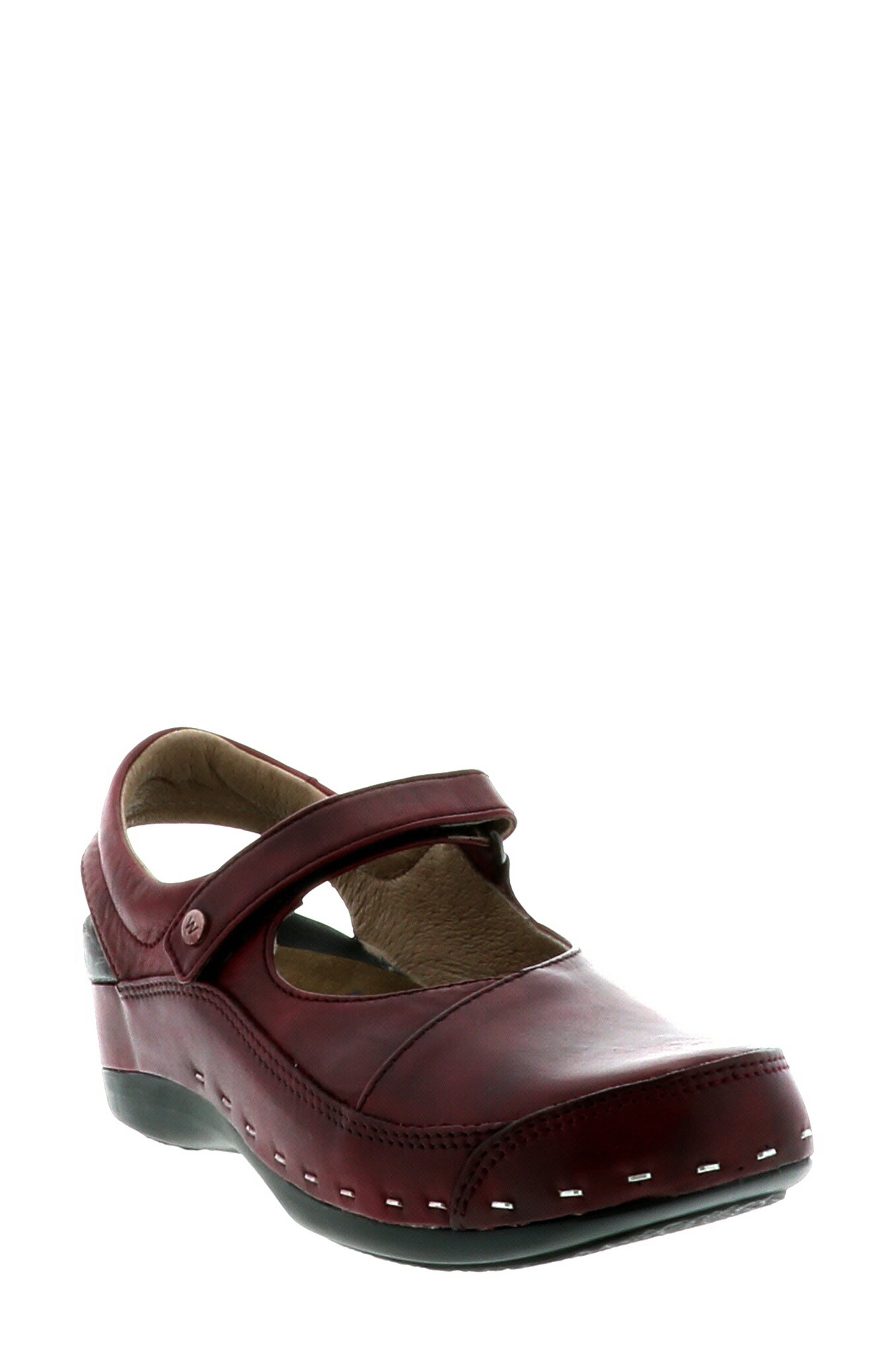 Wolky Ankle Strap Clog-9 - Burgundy