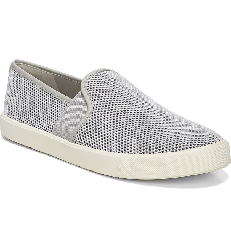 VINCE Preston B Perforated Leather Slip-On Sneaker, Main, color, LTGREY