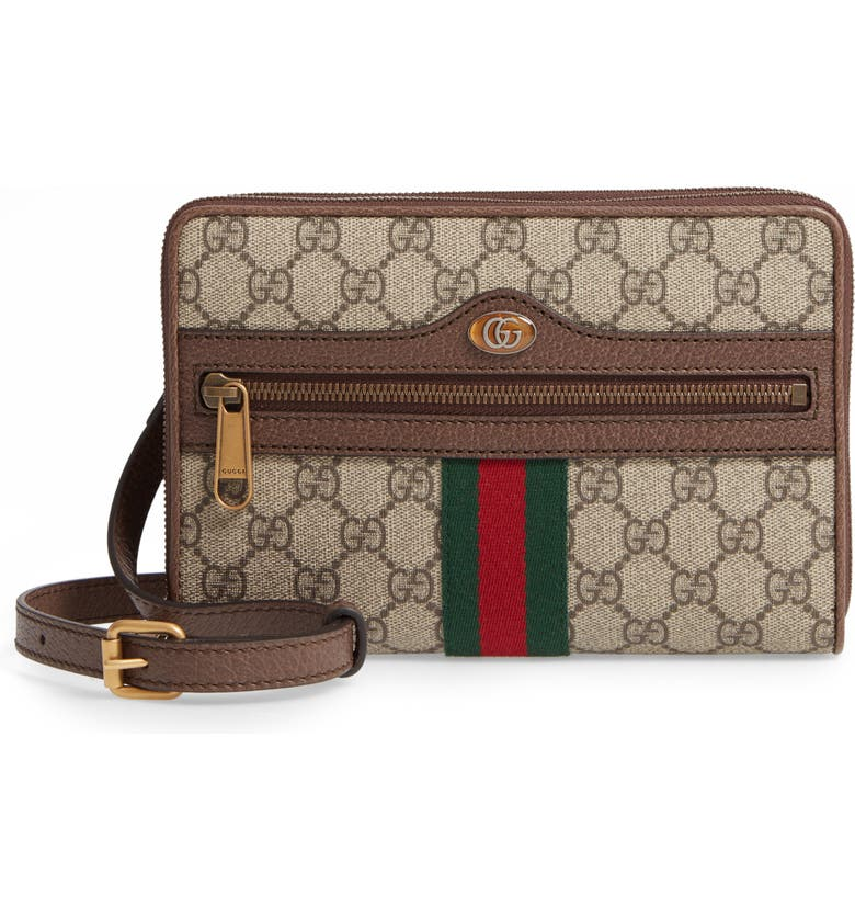 GUCCI Ophidia GG Supreme Canvas Messenger Bag, Main, color, BEIGE EBONY/ ACERO/ VERT RED