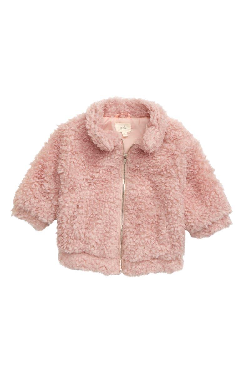 EN ELLY Faux Fur Jacket, Main, color, BLUSH