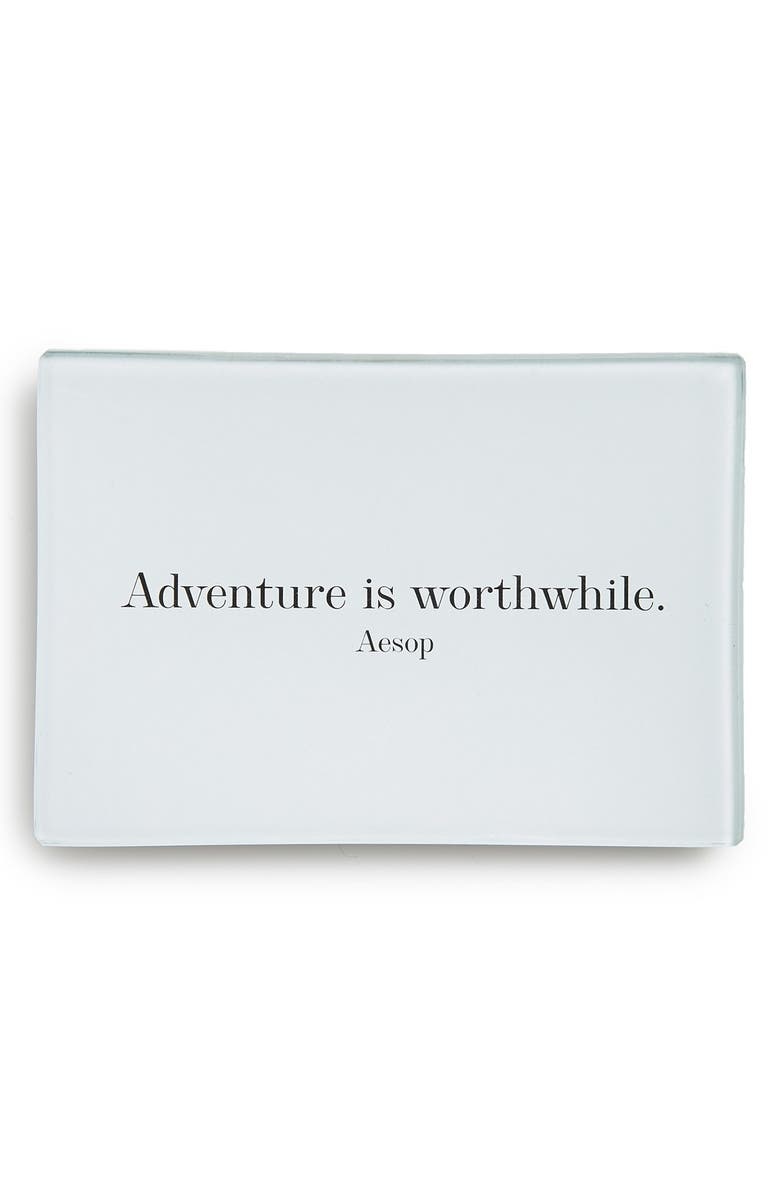 BEN'S GARDEN 'Adventure Is Worthwhile' Decorative Glass Tray, Main, color, 100
