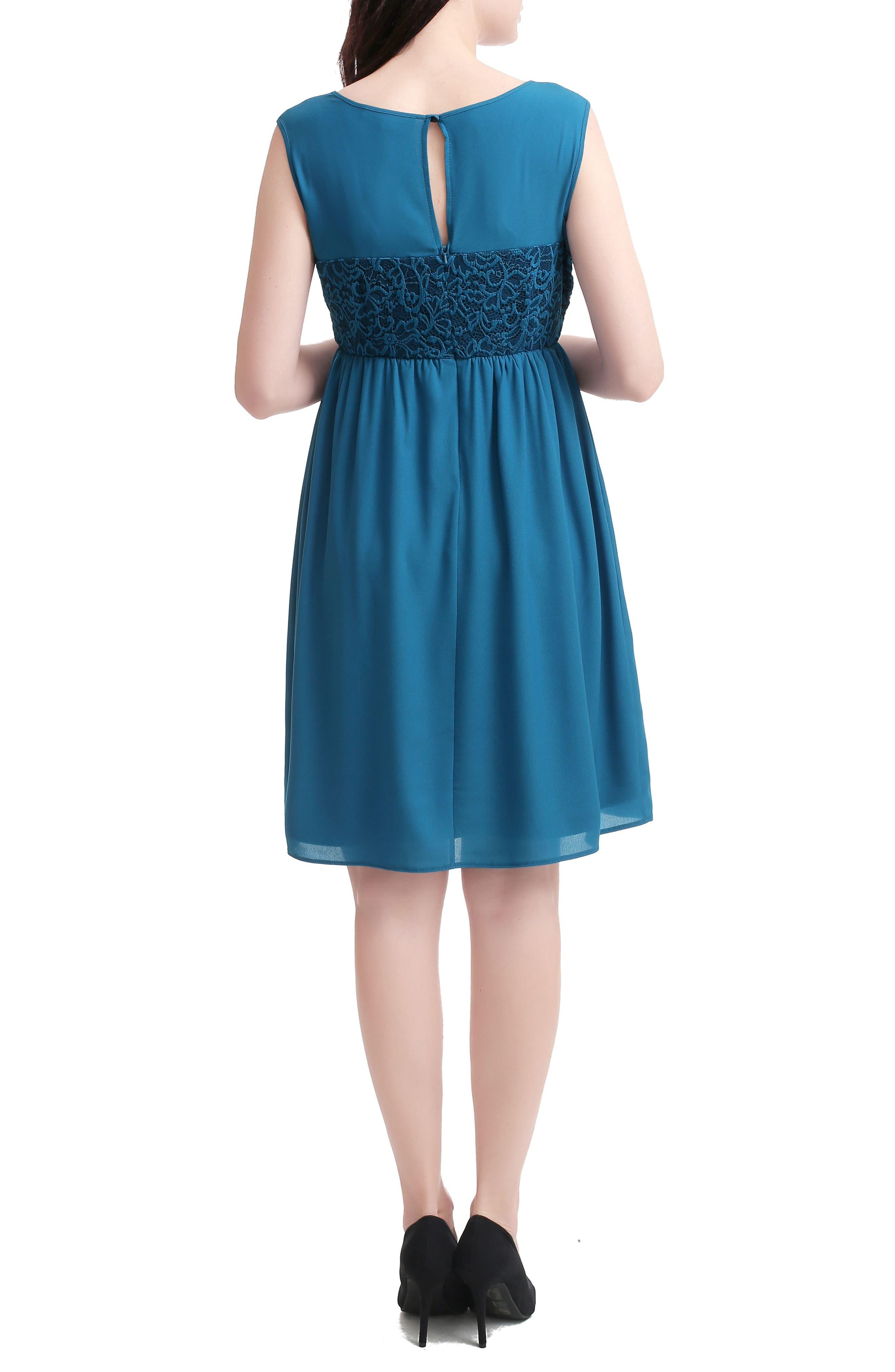 Kimi And Kai Sade Lace & Mesh Maternity Dress, Blue