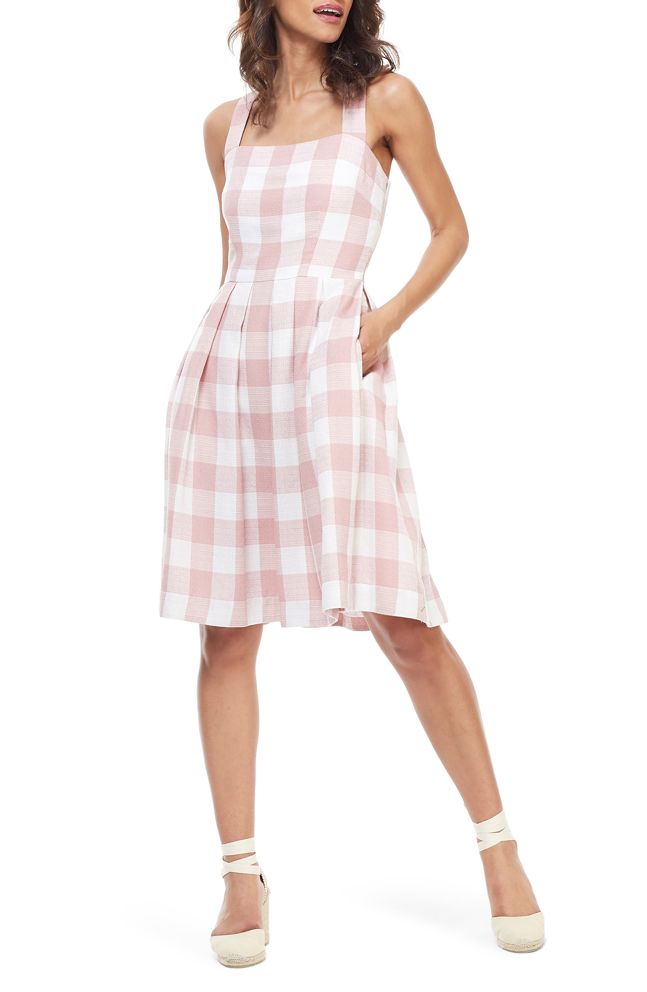 Gal Meets Glam Collection Polly Cross Back Pleated Sundress, Pink