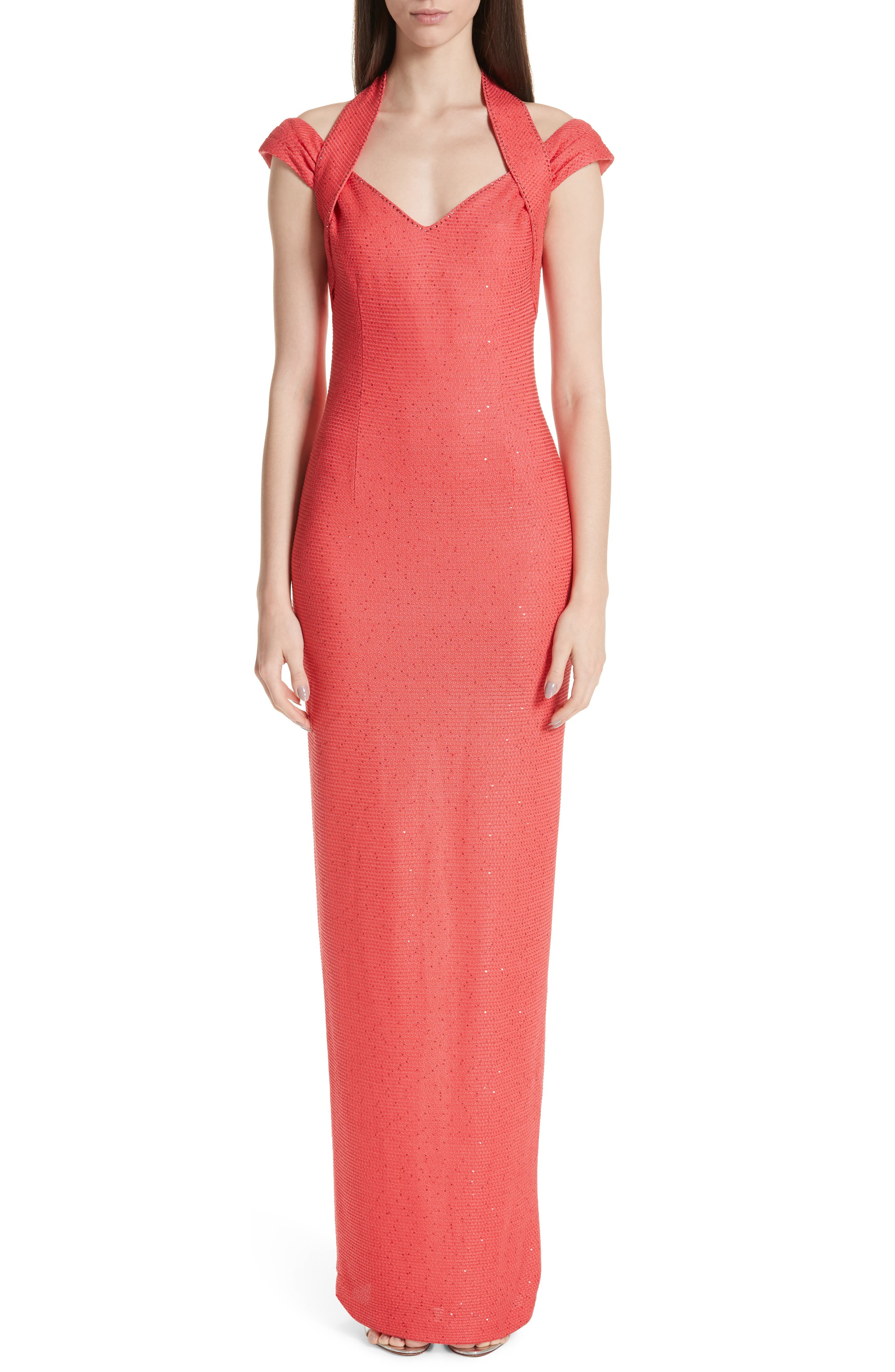 St. John Collection Links Sequin Knit Halter Gown, Pink