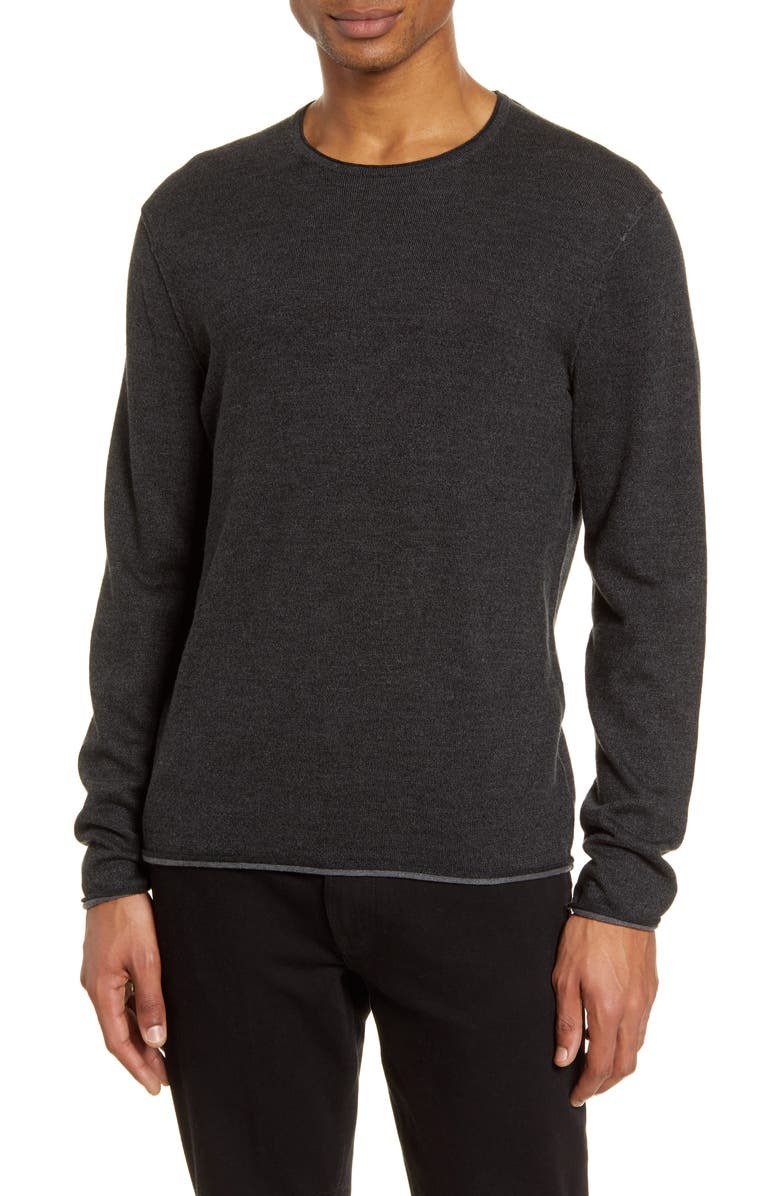 RAG & BONE Trent Slim Fit Tipped Linen & Wool Blend Sweater, Main, color, BLACK