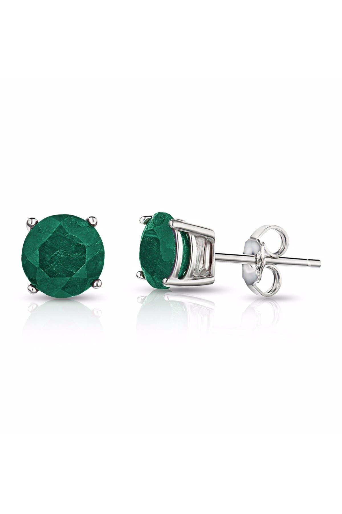 Image of Best Silver Inc. Sterling Silver 6mm Emerald CZ Stud Earrings