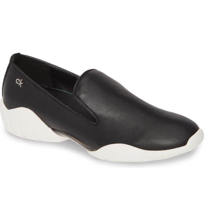 CALVIN KLEIN Lee Eco Slip-On Sneaker, Main, color, BLACK FAUX LEATHER