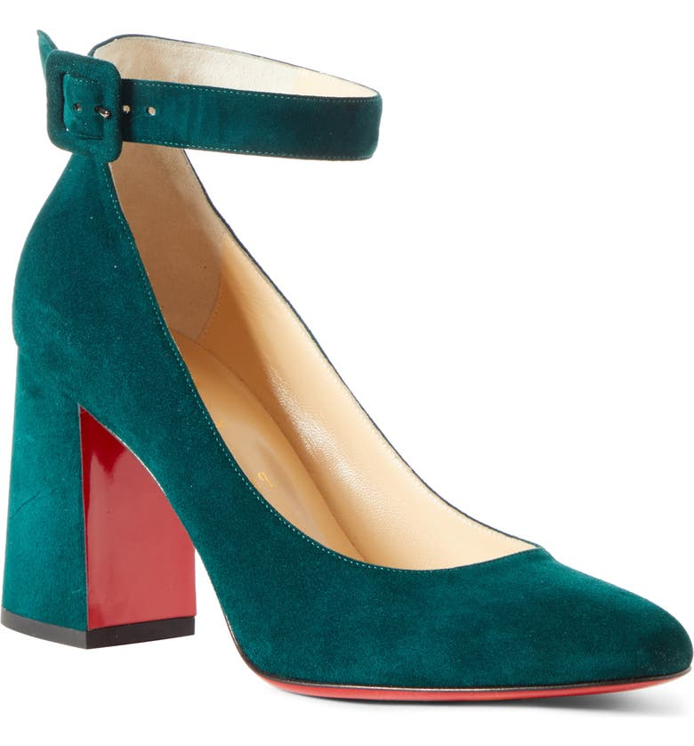 CHRISTIAN LOUBOUTIN Soval Ankle Strap Pump, Main, color, VOSGES GREEN