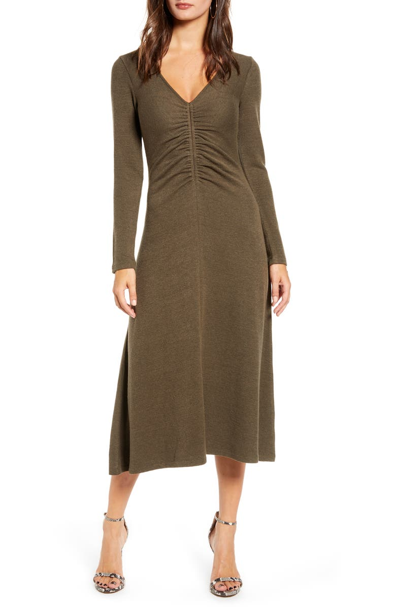 ALL IN FAVOR Cinch Front Long Sleeve Midi Sweater Dress, Main, color, OLIVE