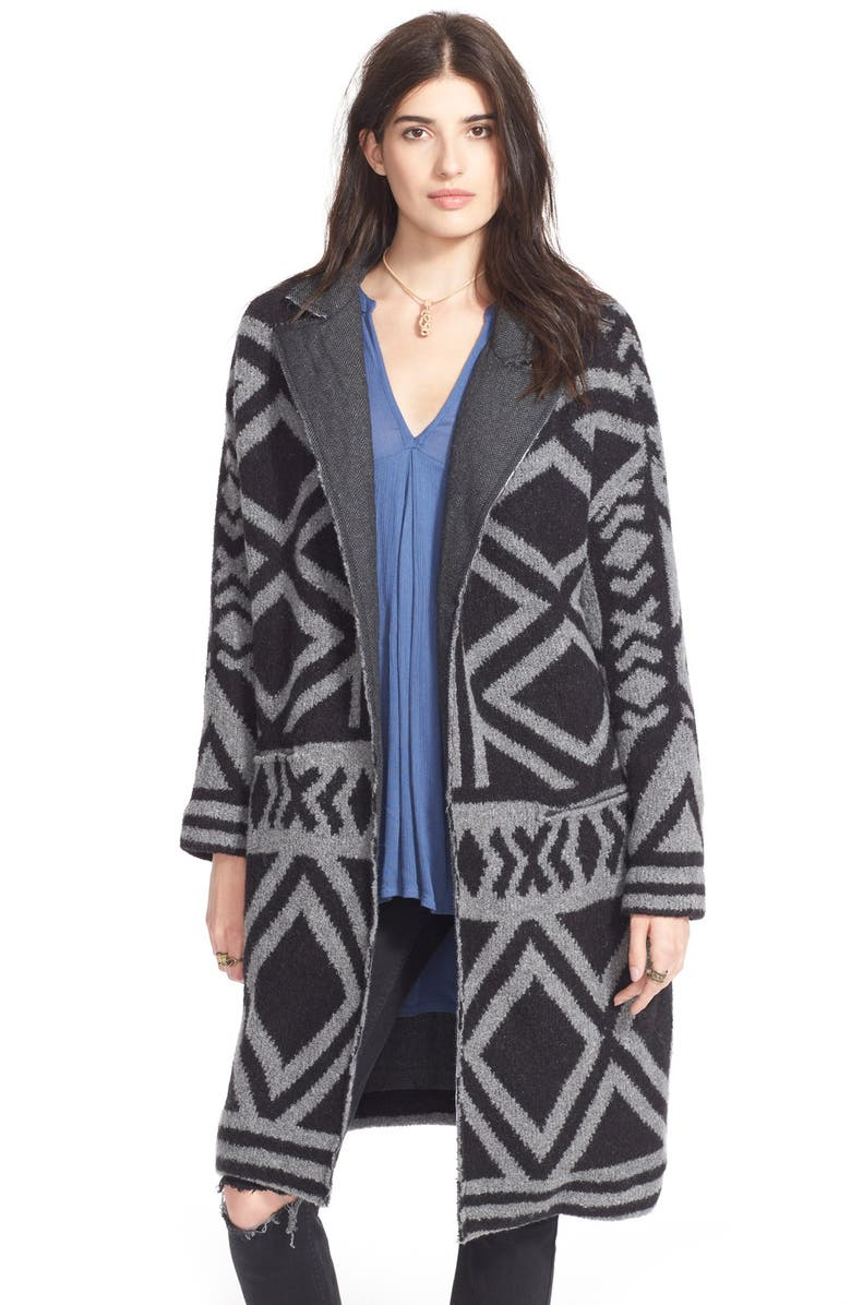 FREE PEOPLE 'Bold Geo' Sweater Coat, Main, color, 018