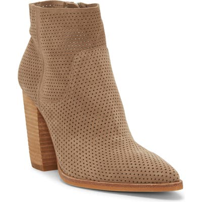 Vince Camuto Cava Perforated Pointy Toe Boot- Beige