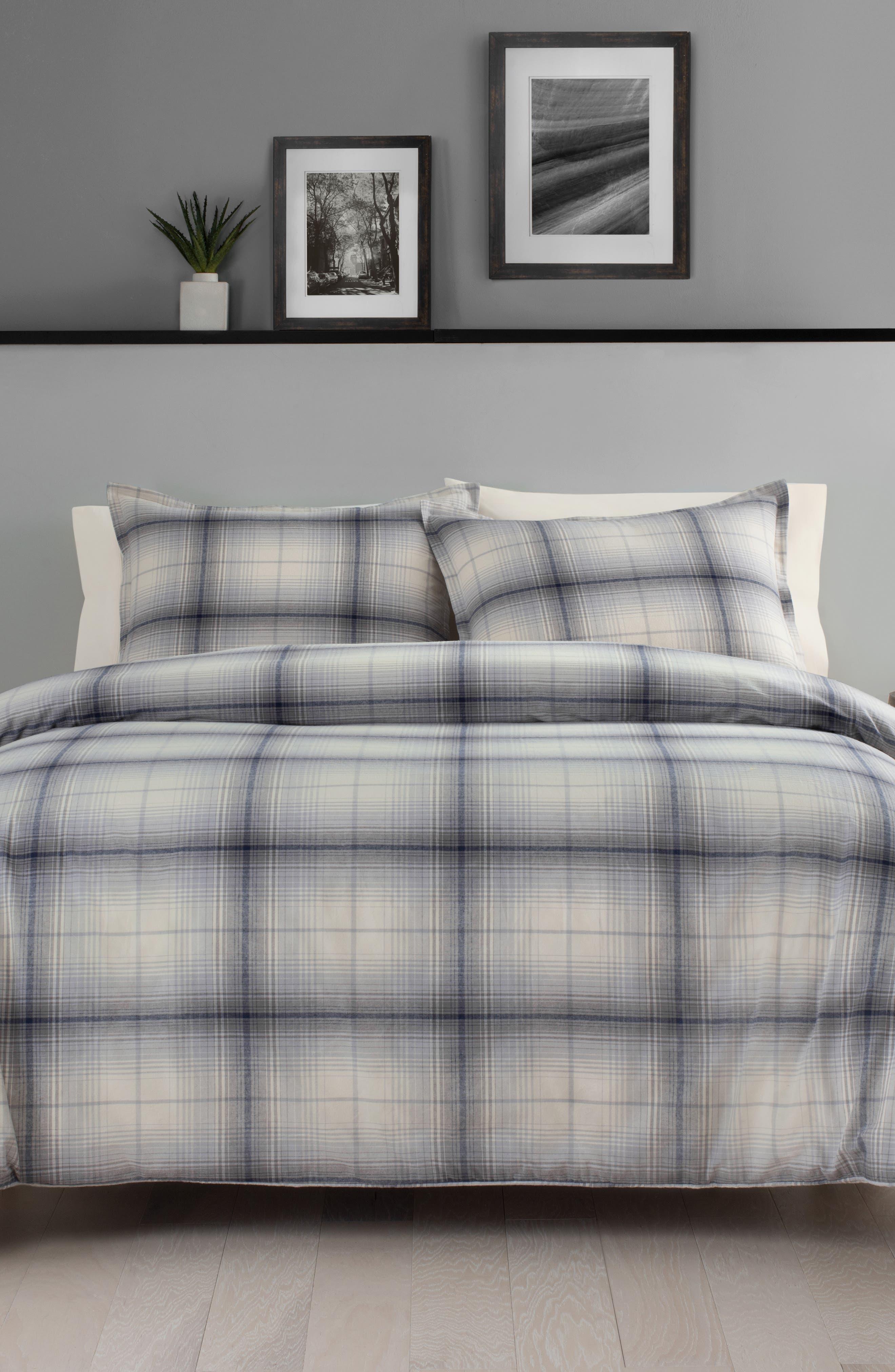 ,                             Porter Plaid Comforter & Sham Set,                             Main thumbnail 1, color,                             GREY
