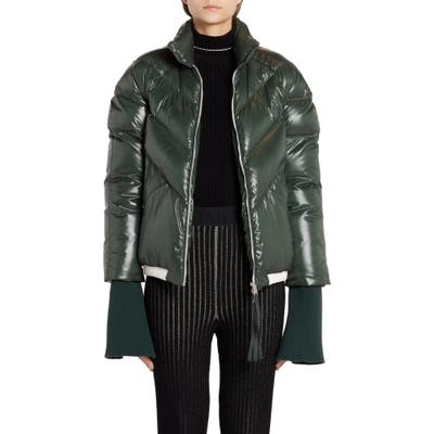 Moncler Genius X 2 1952 Yalou Knit Sleeve Lacquered Down Puffer Coat, (fits like 8-10 US) - Green