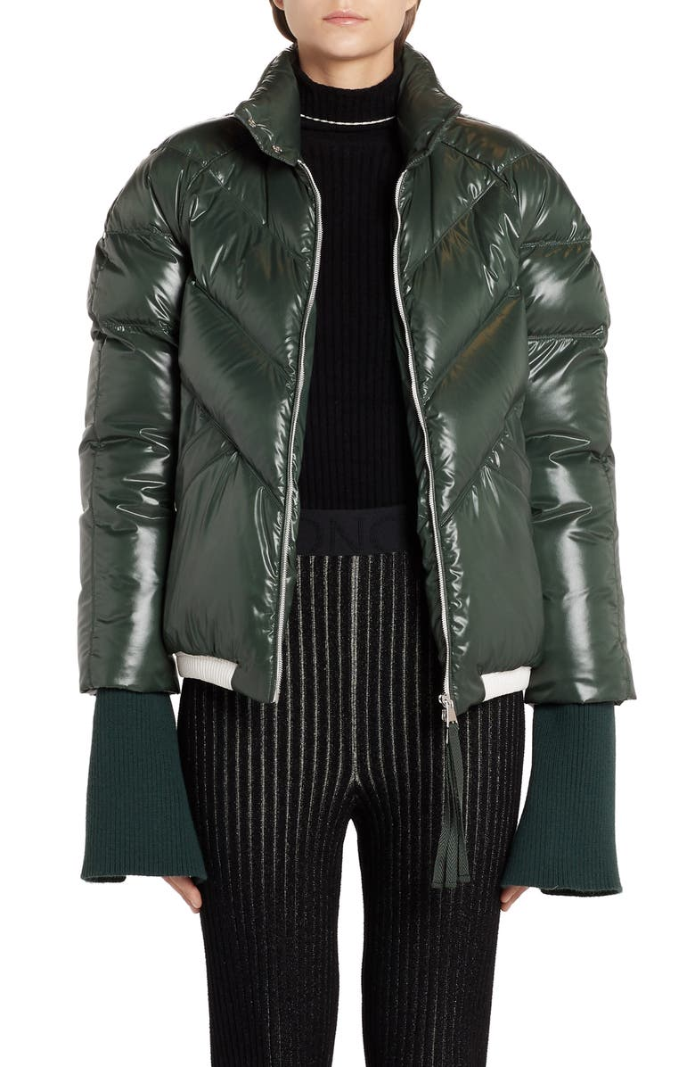 MONCLER GENIUS x 2 1952 Yalou Knit Sleeve Lacquered Down Puffer Coat, Main, color, GREEN