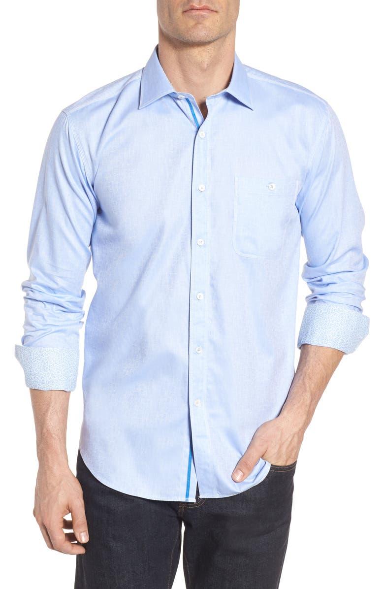 BUGATCHI Shaped Fit Sport Shirt, Main, color, SKY