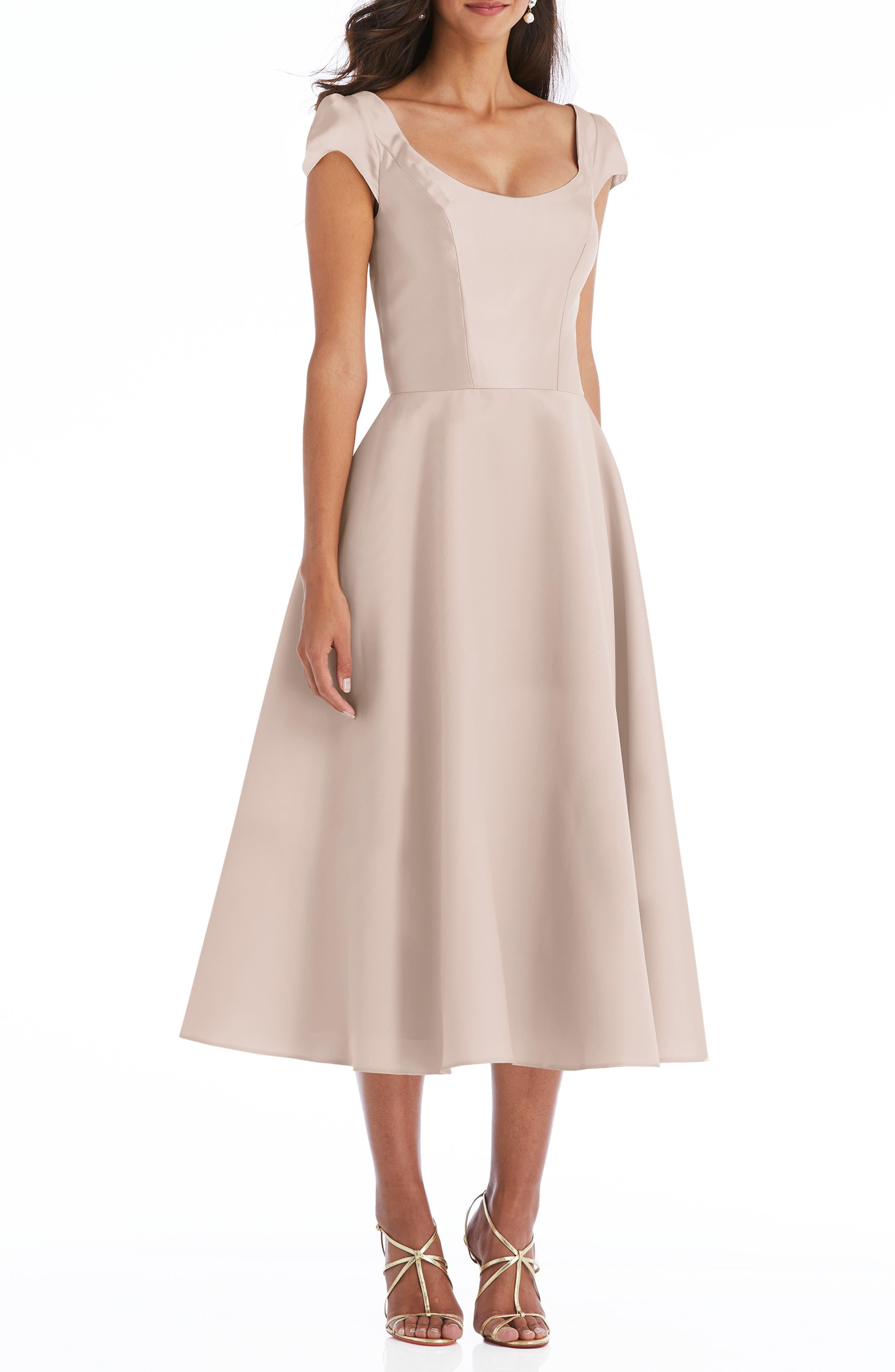 Cap Sleeve Full Skirt Satin Midi Cocktail Dress