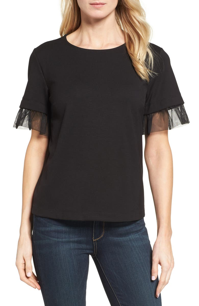 HALOGEN<SUP>®</SUP> Tulle Trim Tee, Main, color, 001