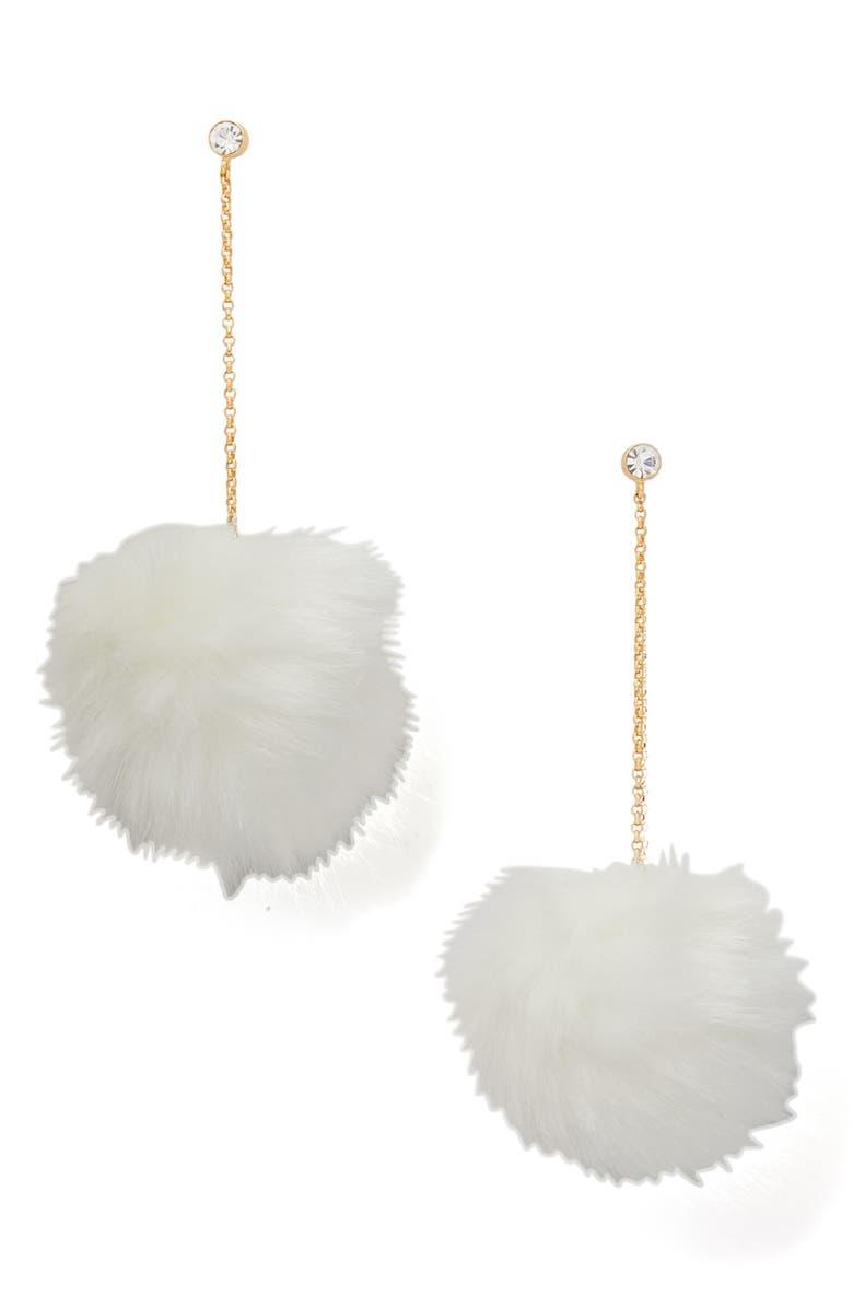 KATE SPADE NEW YORK want it faux fur drop earrings, Main, color, WHITE
